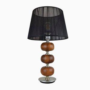 Walnut & Brushed Aluminum Table Lamps by Henrik Blomqvist, 1960s, Set of 2