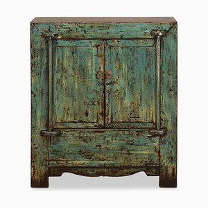 Antique Distressed Blue Lacquer Side Cabinet