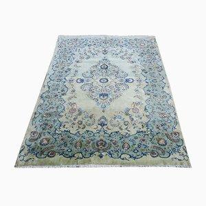 Großer Pistazien-farbener Mid-Century Kaschan Teppich im Aubusson Stil