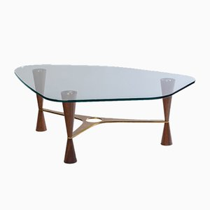 Table Basse 5309 en Laiton et en Noyer par Edward J. Wormley pour Dunbar, Etats-Unis, 1950s