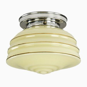 Art Deco Glass Tiered Ceiling Lamp with Gold Rims