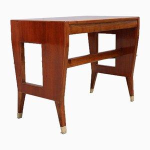 Kleiner Vintage Walnuss Schreibtisch mit Laminierter Tischplatte und Messing Spitzen von Gio Ponti