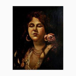 Frau des Volkes, Neapolitanische Schule, 1600er, Öl auf Leinwand