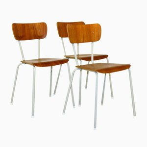 Swedish School Chairs, 1950s, Set of 3