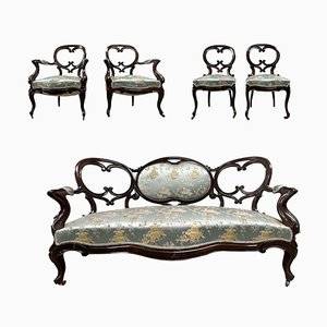 French Chateau Medallion Living Room Set, 1800s, Set of 5