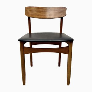 Mid-Century Teak & Black Vinyl Dining Chair