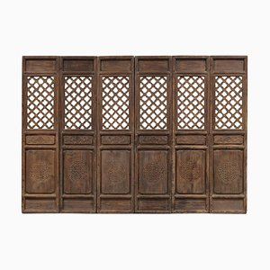 Antique Lattice Door Panels, Set of 6