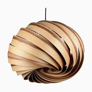 Lampada a sospensione Quiescenta in legno di ulivo e frassino di Gofurnit