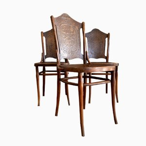 Wooden Barber Chairs, 1900s, Set of 3