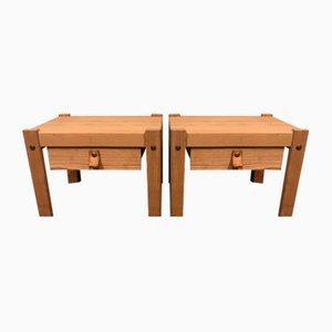 Danish Oregon Pine Bedside Tables, 1970s, Set of 2