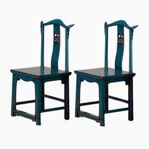 Beistellstühle mit Blauer Rücklehne, 2er Set