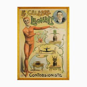 Le Celebre Leonaly, Kontorsioniste, Affiches Louis Galice von Paris, 1890er, Gerahmte Lithographie