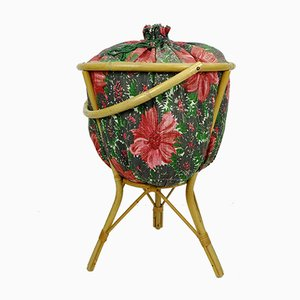 Decorative Bamboo & Rattan Sewing or Knitting Basket with Colorful Floral Fabric, 1950s