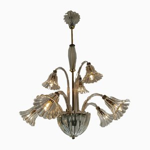 8-Leuchten Kronleuchter von Ercole Barovier für Barovier & Toso, 1950er