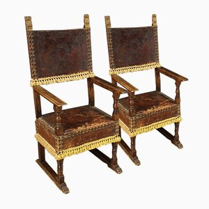 Leather Armchairs, Mid 20th Century, Set of 2
