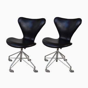 Chaises de Bureau Pivotantes Modèle 3117 Ajustables par Arne Jacobsen pour Fritz Hansen, Set de 2