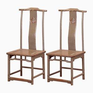 Grau Lackierte Stühle mit Hoher Rückenlehne, 2er Set