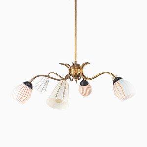 Lampada a sospensione a 6 luci in ottone e vetro, anni '50