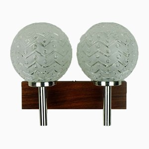 Rosewood & Chrome Wall Lamp with Etched Glass Globes with Relief Pattern, 1970s