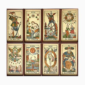 Framed Tarot Card Lithographs, Italy, 1950s, Set of 8