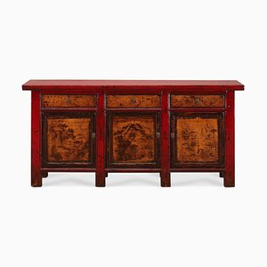 Red Lacquer Sideboard with Landscape Paintings