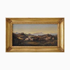 Paesaggio, Scuola di Posillipo Napoli, olio su tela