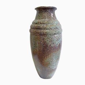 Große Glasierte 7/50 Keramik Vase in Grün & Braun von Hör Keramik, 1960er
