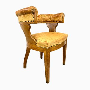 Oak and Leather Armchair, Sweden, 1900s