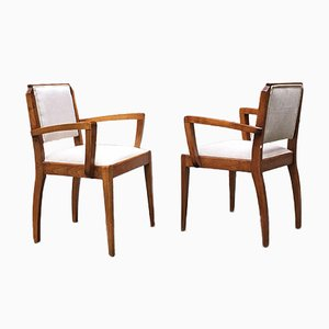 Mid-Century Italian Walnut Armchairs with Armrests, 1930s, Set of 2