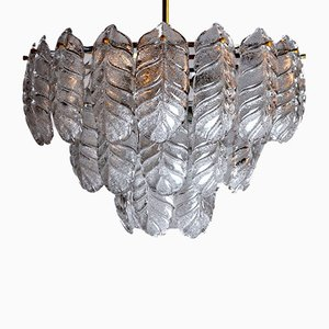 Italian Murano Glass Leaf Chandelier from Mazzega, 1970s