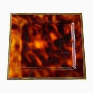 Tablett aus Plexiglas in Schildpatt-Optik mit Messing Einfassung von House of Dior, 1960er