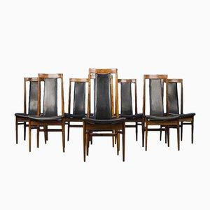 Dänische Esszimmerstühle aus Leder & Palisander, 1960er, 8er Set