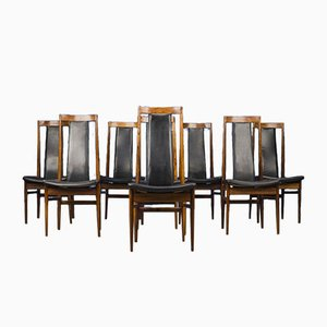 Danish Leather and Rosewood Dining Chairs, 1960s, Set of 8
