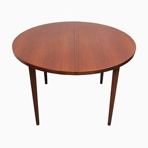 Swedish Round Teak Expandable Dining Table from Alberts Tibro, 1960s
