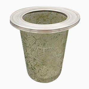 Secchiello per il ghiaccio vintage con foglie e ornamenti di R. Lalique