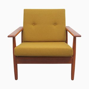 Teak Armchair in Mustard Yellow, 1960s
