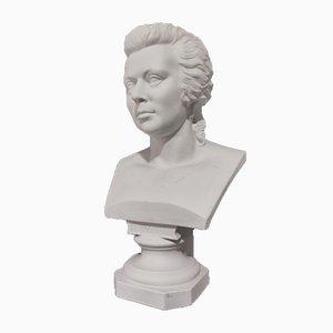 Grand Buste en Porcelaine Biscuit de Mozart, 19ème Siècle