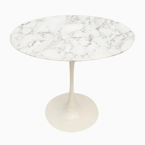 Vintage Side Table with Tulip Base and Marble Top by Maurice Burke for Arkana