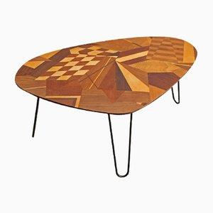Tavolo vintage intarsiato a forma di fagiolo