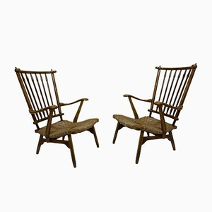 Vintage Beech Spindle High Back Lounge Chairs Set from De Ster Gelderland, 1950s