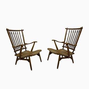 Vintage Buchenholz Lounge Stuhl mit hoher Rückenlehne von De Ster Gelderland, 1950er