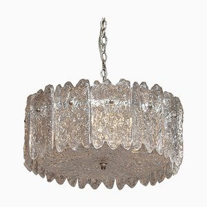 Large Ice Sculpted Crystal Pendant by Carl Fagerlund for Orrefors, Sweden, 1960s