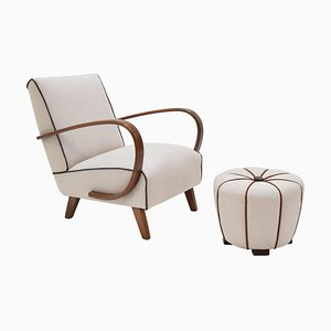 Armchair and Ottoman by Jindrich Halabala, 1950s, Set of 2
