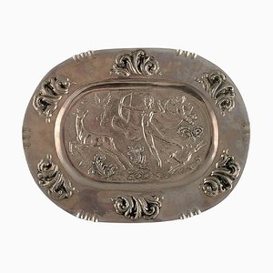 Large Oval Serving Dish in Metal with Classicist Hunting Scene