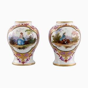 Antique Miniature Vases in Porcelain with Romantic Scenes, 19th-Century, Set of 2