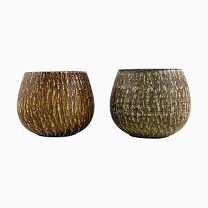 Bowls in Glazed Stoneware by Gunnar Nylund for Rörstrand, Mid-20th-Century, Set of 2