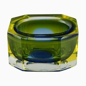 Cuenco italiano angular de cristal de Murano artístico, años 60