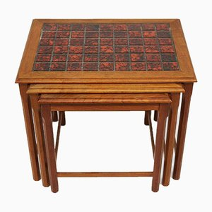 Vintage Danish Nesting Tables with Red Tile Tops, 1970s