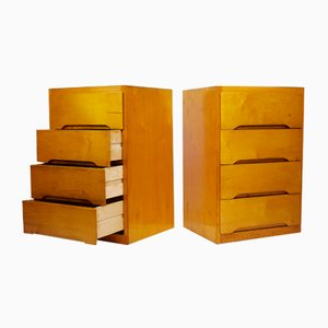 Mid-Century Plywood Chests of Drawers by B. Linden, 1960s, Set of 2