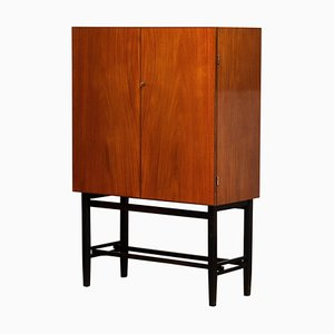 Teak and Brass Dry Bar or Drinks Cabinet from Förenade Linköping Sweden, 1960s